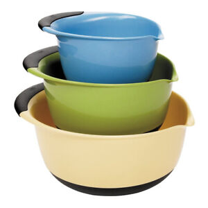 OXO Good Grips 3 Piece Nesting Mixing Bowl Set with Handles, Red, Green & Blue
