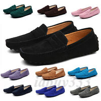 Womens Ladies Slip On Suede Driving Loafers Leather Moccasins Flats Casual Shoes