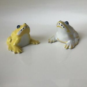Two Sandoz Porcelain Frog salts/ pepper shakers for Theodore Haviland, 1930's