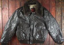 Vintage 70s Genuino Cuero Chaqueta de Abrigo de lana forrada Bombardero De Vuelo Talon Cremallera EE. UU. 42