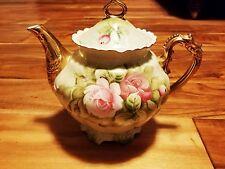 Lefton HERITAGE GREEN 5 Cup Tea Pot & Lid pink red roses