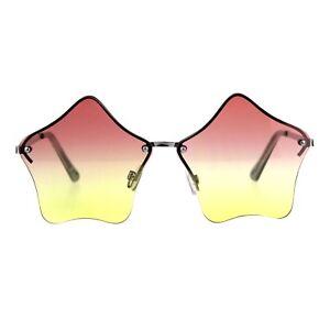 Star Shape Sunglasses Glasses Cute Stars Lens Half Rimless Frame UV 400