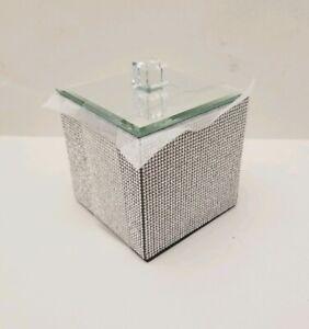 BELLA LUX FULL Rhinestone Luxury Cotton Ball Q-Tip Box Jar w/ Lid Bath Bathroom
