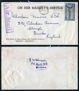 BAHAMAS OHMS ENVELOPE 1961 AGRICULTURE + MARINE 10d FRANKING...AIRMAIL HANDSTAMP