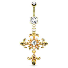 GOLDEN Fleur de Lis Cross Jeweled BELLY Button NAVEL Bar RINGS Piercing Jewelry