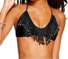 Raisins Bikini Top Sz L Solid Black Fringe Bra Halter Swimwear Swim Top P783279