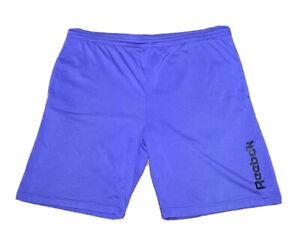 VTG 1990s Reebok Sport Printed Spell Out Blueish Purple Drawstring Shorts Size L