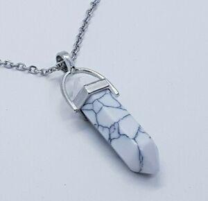 Howlite Crystal Necklace Gemstone Healing Stone White Marble Reiki High Quality