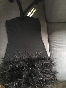 Topshop Black Feather Dress Size 8
