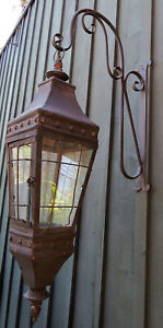 French Country Candle Sconce Metal Glass Rustic Lantern Hurricane Wall Decor