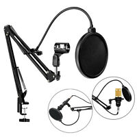 Desktop Microphone Stand Mic Boom Arm with pop Filter for Radio Broadcasting