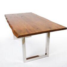 Esstisch Akazie Tisch Massivholz mit Baumkante Stone Finish 160x90