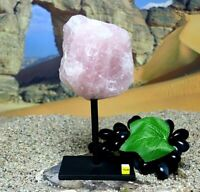 Rose Quartz Boulder on Metal Stand - Natural Raw Mineral Crystal Healing 1324g