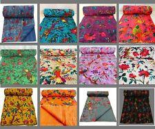 Indian Handmade Kantha Quilt Throw Reversible Bedspread Vintage Cotton Birds