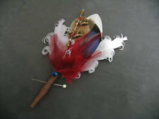 "Wedding Boutonniere Pheasant Mallard Feather ""Zoe"" Brown Burgundy Blue Lapel Pin"