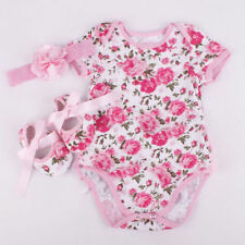 Newborn Infant Baby Girl Floral Romper Bodysuit headband Shoes Sets Clothes M US