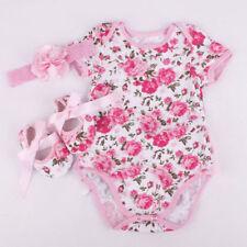 Newborn Infant Baby Girl Floral Romper Bodysuit headband Shoes Sets Clothes M US