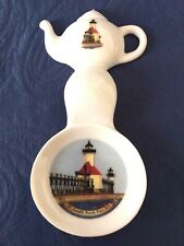 New Handmade Ceramic-Porcelain Tea Bag Spoon Rest Lighthouse St. Joseph N., Mi