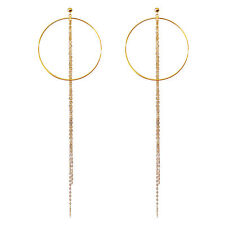 Yunis K Hoop and Chain Fringe Statement Earrings in Gold Plated