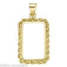 BRAND NEW `SOLID 14 KT GOLD ROPE BEZEL/BALE FOR 1 GRAM PAMP SUISSE BARS&CREDIT