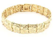 "Real 10K Yellow Gold Nugget Bracelet 7""-7.5"" 15.3mm 31.5 grams"