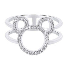 Round Shape Cubic Zirconia Mickey Mouse Open Ring 14K White Gold Over