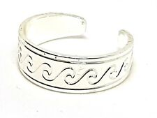 Toe Ring Greek Wave Style Strong Silver Plated 16mm Adjust Boho Ethnic Girls