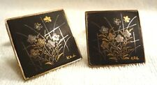 Vintage Japanese Damascene Cufflinks Gold & Silver Inlaid