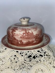 Red and Cream Color Transferware Butter Dish. From High End Italian Shop