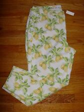 Talbots Heritage Lemon Bunches Crop Pants NWT Multi-Colored Cotton 16W $99