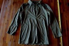 Women's Theory Olive Grn 3/4 Sleeve V Neck Open Collar Shirt Top - petite Medium