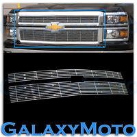 14-15 Chevy Silverado 1500 3x CHROME Upper Billet Grille Grill Overlay Insert