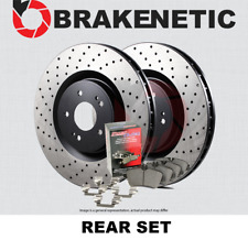 [REAR] PREMIUM Cross DRILLED Brake Rotors + POSI QUIET Ceramic Pads BPK57996