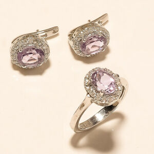 Natural Panorama Amethyst Jewelry Set 925 Sterling Silver Valentine Jewelry Gift
