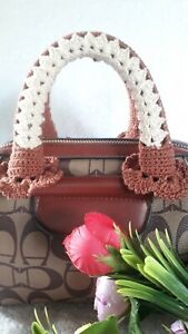 "Handle cover crochet handbag cotton  Brown Beige 10"" Handmade for bag mini"