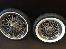 DNA CHROME DIAMOND MAMMOTH 52 FAT SPOKE WHEELS 21x3.5 & 16x3.5 FLSTC HARLEY