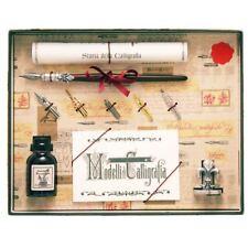 En bois Dip Stylo pour Calligraphie 5 plumes, encre et support ensemble cadeau