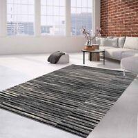 Teppich Flachflor Modern Meliertes Streifen-Muster in Anthrazit für Wohnzimmer