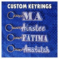 Custom Acrylic Keyring Personalised Name School Bag Tag Gift Sports Label