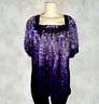 NEW INC International Concepts Purple Black Print Beaded Silk Top Size 8 $89