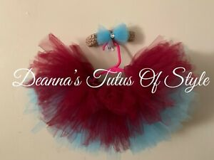 Burgundy And Turquoise Tutu With Headband Size 3-6 Months
