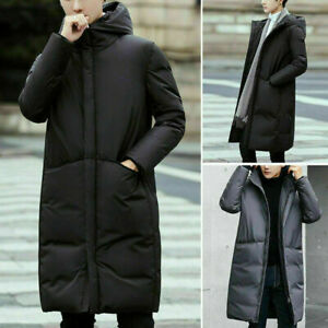 Mens Winter Long Puffer Coat Hooded Down Jacket Quilted Padded Cotton Overcoat