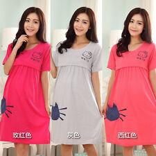 New Pregnant Women Casual Short Sleeve Dress Nursing Clothes Maternity Dresses