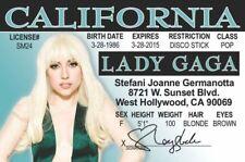 Lady Gaga California collectors Id i.d. card Drivers License