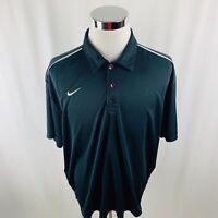 Nike Dri-Fit Black Short Sleeve Golf Polo Shirt Mens 2XL XXL
