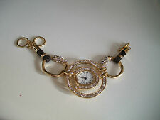 Western Gold Finish Stone Bracelet Cowgirl Bling  Horse Shoe Boot Jewelry Watch