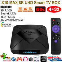 X10 MAX Android 9.0 8K 4+32G Dual WIFI BT TV BOX Quad Core HDR+ Media Amlogic