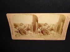 Antique Black Americana Child with Broken Wheel Scene Stereo View Card, 1901