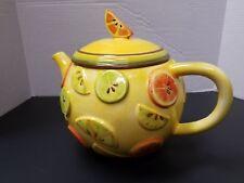 Vintage Debbie Mumm Large Ceramic Tea Pot Yellow Oranges Fruit Scene 2 Qt