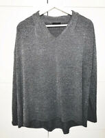 Cos Grey Marl Long Sleeve Top Tunic Flared V Neck Casual Basic UK 10 12 M